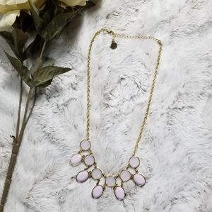 JS Pink Oval Rhinestone Gold Color Chain Necklace